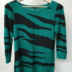 Cable & Gauge 3/4 Sleeve Sweater Green Sz Small